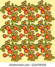bright background with apples and branches