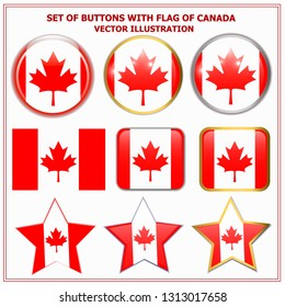 Bright background buttons with flag of Canada . Happy Canada day background. Bright buttons with flag.