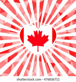 bright background for Canada Day. Polygonal pattern. Vector. Template for greeting card backgrounds.. For design, design, advertising banners