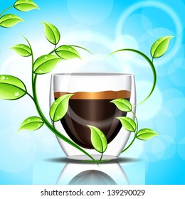 Bright background with a cup of coffee