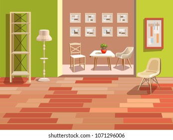 Bright Background With An Interior. Two Rooms With Stylish Light Furniture.  Green Walls And