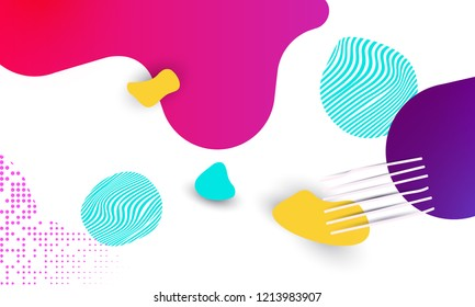 Bright background with organic curves and shapes on a white background. Fluid organic colorful shapes. Neon bright color for youth, school poster, banner for advertising.