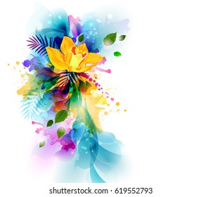 Bright background with yellow orchid flowers on the artistic abstract blots.