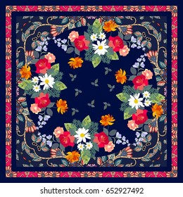 Bright bandana print in indian style with traditional ethnic ornament and bouquets of gardening flowers. Vector illustration.