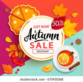 Bright banner for autumn sale with pumpkin pie, tea and autumn leaves on geometric background. Vector illustration.
