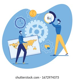 Bright Banner Choice Advertising Method Cartoon. Effective Gold Marketing Formula. Modern Men Set Statistics, Man Carries Map World. Guy Shows on Pie Chart Flat. Vector Illustration.