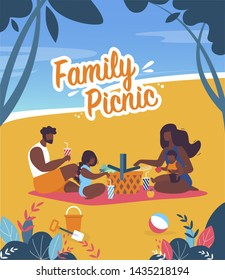 Bright Banner Family Picnic Lettering Cartoon. Summer Poster Parents with Children Sit on Picnic Bed and Eat Together. Flat Flyer Family Picnic by Sea or Ocean. Vector Illustration.