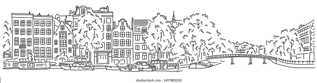 Bright banner flyer sketch inscription Amsterdam. City by river. Beautiful promenade. Walk along river. Beautiful buildings with lush trees. Hand drawn quick sketch. Vector illustration.