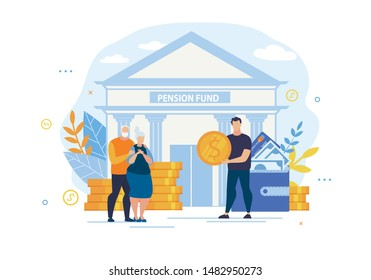 Bright Banner Inscription Pension Fund Cartoon. Long-term Capital Investment. Elderly Husband and Wife are Standing Near Bank and Gold Coins, Guy is Offering Gold Coin. Vector Illustration.