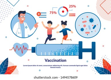 Bright Banner Inscription Vaccination Cartoon. Wide Format Research Provided and Guarantees Absolute Accuracy Results. Happy Children Run on Large Syringe, Doctor Looks at Them. Vector Illustration.