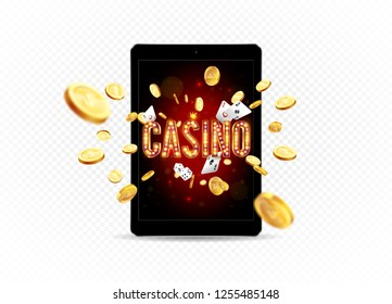 Bright banner for online casinos, poker, roulettes or slots. Coins are falling from the pad. The big jackpot. You are the winner
