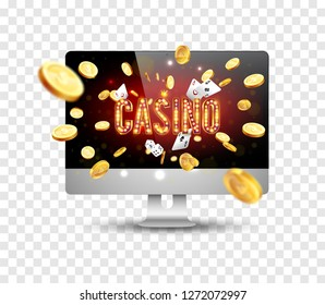 Bright banner for online casinos, poker, roulettes or slots. Coins are falling from the laptop. The big jackpot. You are the winner