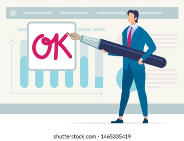 Bright Banner Sending Approved Documents Flat. Modern Poster Conceptual Idea Approval and Resolution Document. Trendy Flyer Man Endorses Document with an Ink Pen. Vector Illustration.