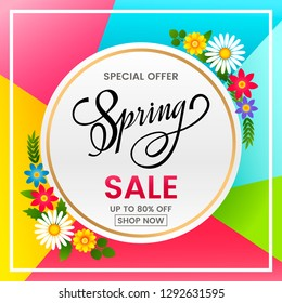 A bright banner of spring sale on the background of spring flowers, daisies. Template for postcard, advertising, coupon, invitation, banner. vector illustration