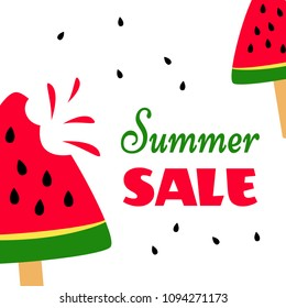 Bright banner with sweet watermelons and inscription Summer Sale. Vector illustration