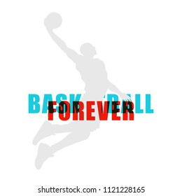 Bright Basketball player silhouette with Colour Channel text overlaping  sport illustration