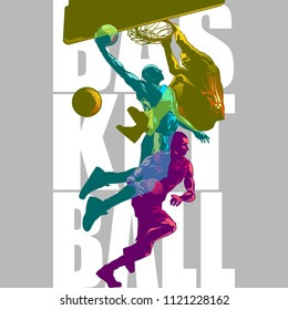 Bright Basketball players silhouettes with Colour Channel overlaping  sport illustration