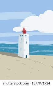 Bright beach sand dunes with the famous danish landmark lighthouse with blue sky background. Rubjerg Knude Lighthouse, Lønstrup in North Jutland in Denmark.Vector hand drawn illustration