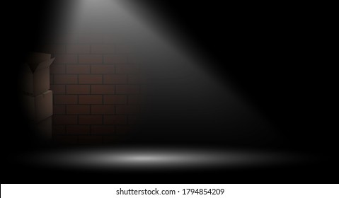 Bright beam illuminates dark alley in big city. Way out of difficult crisis situation concept,. Brick Background, illustration for design. Crime on streets at night. Realistic vector