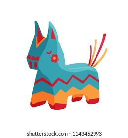 Bright birthday donkey pinata with candies vector icon isolated on white