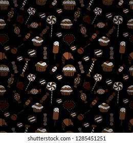 Bright birthday pattern on brown, black and white. Vector illustration. Seamless pattern cake. For food poster design.