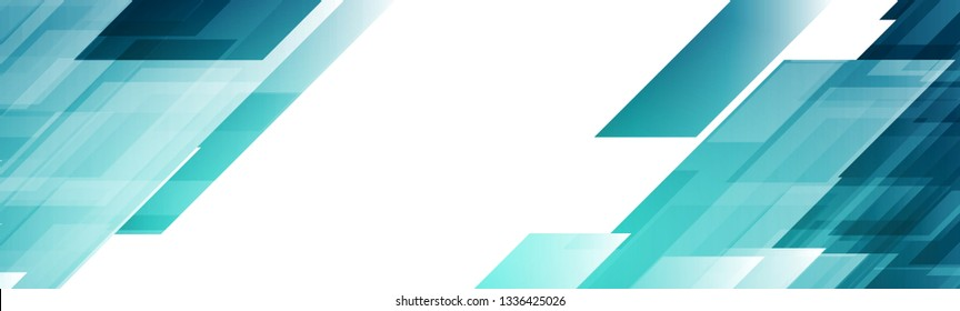 Bright blue abstract tech geometric banner design. Vector background