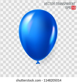 Bright blue air balloon isolated on transparent background