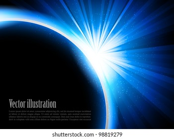 Bright blue background with rays and stars