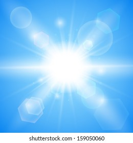Bright blue background. Winter sun burst with lens flare. Vector illustration. Stock Vector