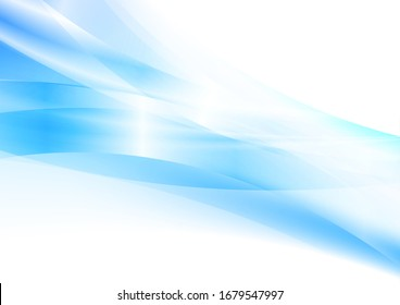 Bright blue glossy stripes and waves abstract background. Futuristic vector design