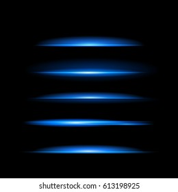 Bright blue glowing lines in the dark. Neon modern stripes on a black background. Vector illustration of a night scene