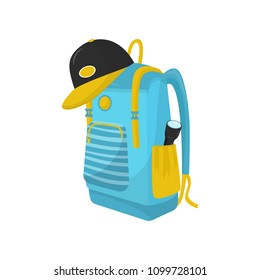 Bright blue hiking backpack with flashlight in pocket and cap. Big tourist bag for adventure and camping. Flat vector icon