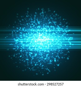 Bright blue particle explosion abstract background modern element hi-tech futuristic layout template. Vector illustration