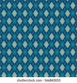bright blue pattern of diamonds and triangles. sweater texture, vector art illustration