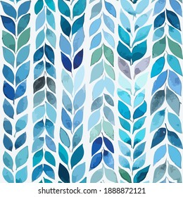 Bright, blue pattern with stripes of leaves