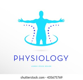 BRIGHT BLUE , PREMIUM VECTOR LOGO / ICON DESIGN , OF A MAN WITH OPEN ARMS