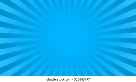 Bright blue rays background with 16:9 aspect ratio. Comics, pop art style. Vector, eps 10.