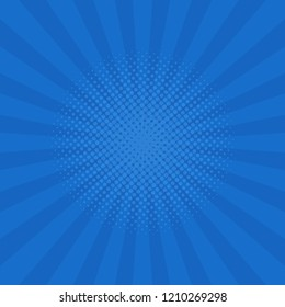 Bright blue rays background. Comics, pop art style. Vector illustration.