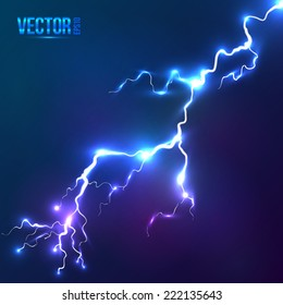 Bright blue vector lightning