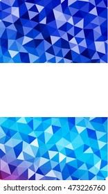 Bright blue vertical banner with place for your text. Polygonal pattern. Vector illustration. To realize your ideas in web design, business presentations.