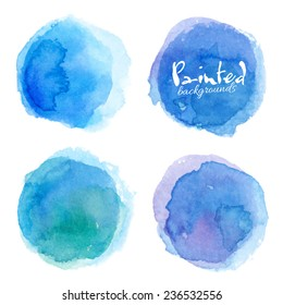 Bright blue watercolor painted vector stains set