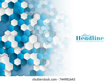 Bright blue and white hexagons abstract tech geometric background. Vector design