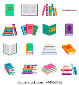 Bright  books and reading documents in flat style. Opened textbook and dictionary icons set. Vector illustration, isolated