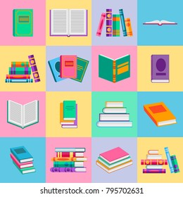 Bright  books and reading documents icons set in flat style. Opened textbook and dictionary signs collection. Vector illustration