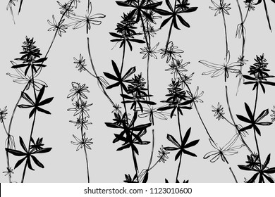 Bright botanical black silhouette pattern. Noble flower plant. Vintage nature seamless on grey colored background. Ink drawing sketch print for textile. Trendy flower lined design.
