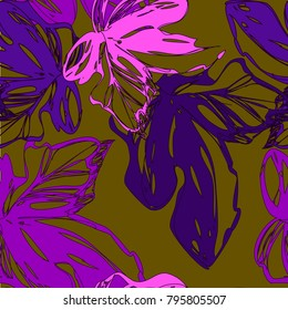 Bright botanical purple silhouette pattern. Noble flower jungle  plant. Vintage nature seamless on pistachio colored background. Ink drawing sketch print for textile. Trendy flower lined design.