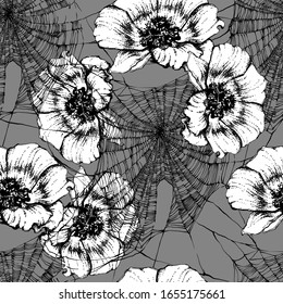 Bright botanical white and black silhouette pattern. Noble anemone flower plant. Vintage nature seamless on grey colored background. Ink drawing spider web for textile. Trendy flower lined design.