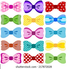 Bright bow collection (elements not merged together, patterns easily removed in vector programs)