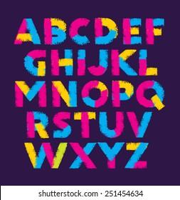 Bright Brush Stroke Artistic Alphabet Vector Concept