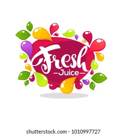 bright bubble frame  sticker, emblem and banner for fruit and berry fresh juice